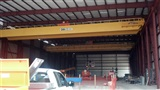 Newly installed 50 ton double girder, top running, remote controlled bridge cranes